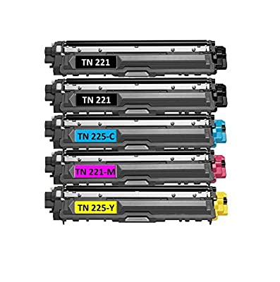 Speedy Toner Compatible Toner Cartridges TN221/TN225 use for Brother MFC-9130 MFC-9130CW . Replaces Part # TN-221BK, TN-225C, TN-225Y and TN-225M- (5 Pack)