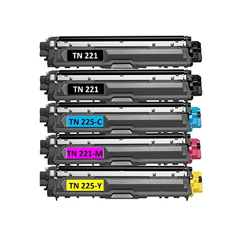 (Speedy Toner Compatible Toner Cartridges TN221/TN225 use for Brother MFC-9130 MFC-9130CW . Replaces Part # TN-221BK, TN-225C, TN-225Y and TN-225M- (5 Pack))