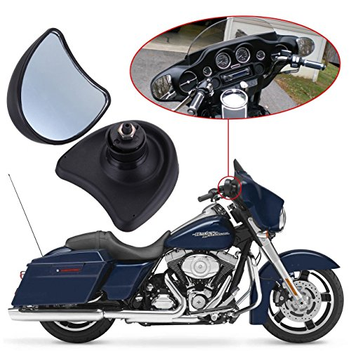 Harley Fairing Mirrors - Ambienceo Motorcycle 10mm Rear View Mirror Fairing Mount for Harley Street Glide FLHX and Electra Glide FLHT FLHTK FLHTCU 1996-2013