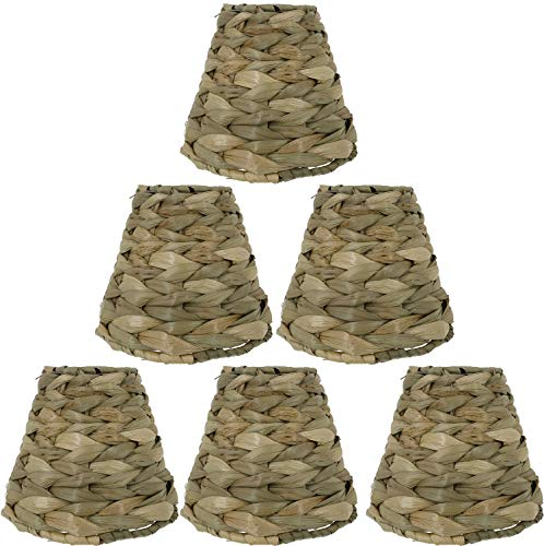 Urbanest Set of 6 Natural Woven Seagrass Chandelier Lamp Shades, Clip-on, 3-inch by 6-inch by 5-inch