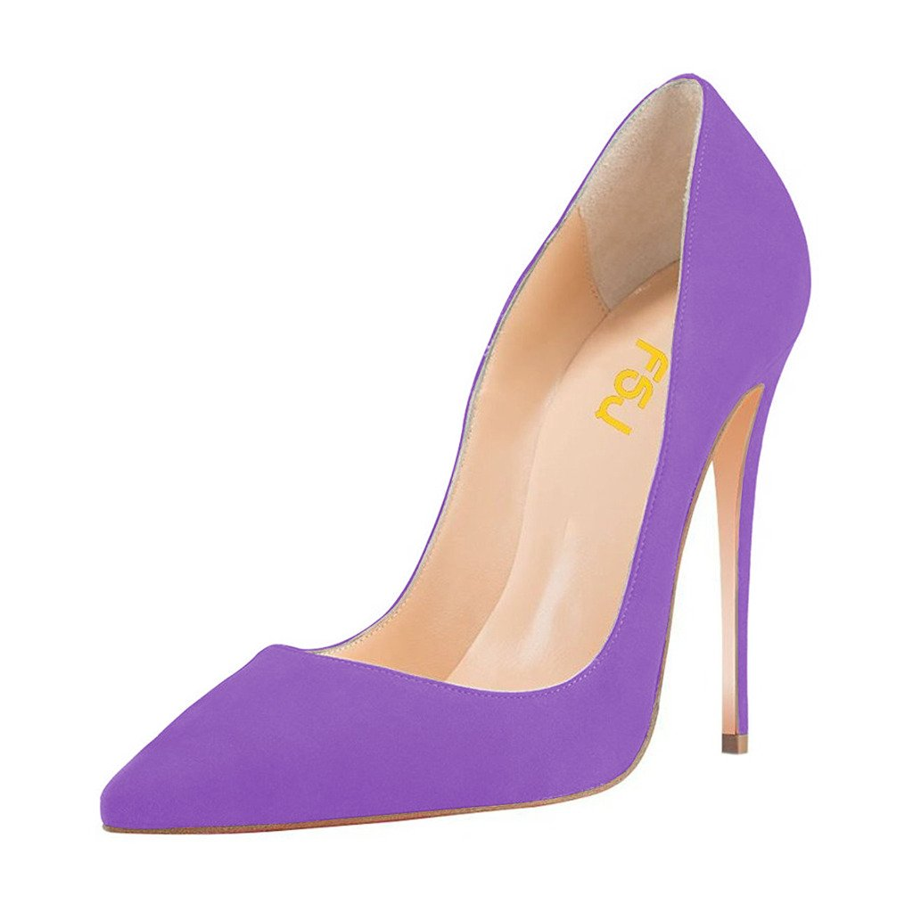 FSJ Women Sexy Suede Pointed Toe Pumps 12 cm High Heels Stilettos Prom Shoes Size 4-15 US B073XM584P 13 B(M) US|Violet
