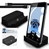 iTALKonline BlackBerry Classic Q20 2015 Black Micro USB Sync & Charge / Charging Desktop Dock Stand Charger with 1.2 meter High Quality FLAT USB to MicroUSB Sync and Charge Cable