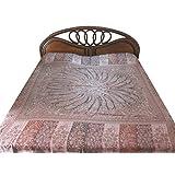 Kashmir Blanket Pashmina Bedspread Dusty Pink Reversible Indian Bedding