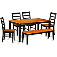 East West Furniture NIPF6-BCH-W 6 Piece Kitchen Tables and 4 Solid Wooden Chairs Plus Bench Set