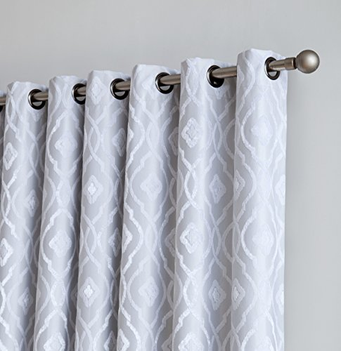 Cheap  HLC.ME Trellis Flocked 100% Blackout Thermal Window Curtain Grommet Panels for Sliding..