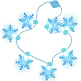 FUTUREPLUSX Light Up Snowflake Necklace, Christmas Light Necklace LED String Lights Winter Frozen Snowflake Decorations