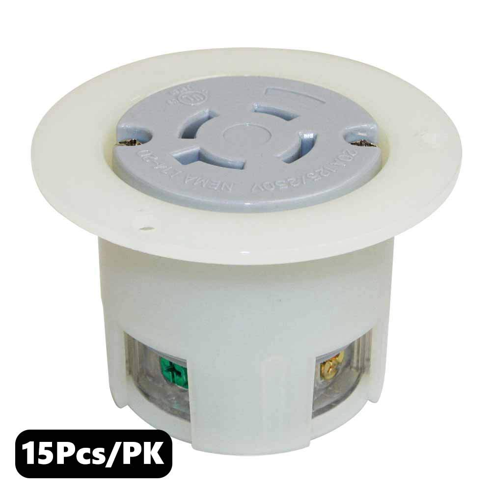 Superior Electric YGF040F Twist Lock Receptacle Flange 3-Pole 4-Wire 20A 125/250V NEMA L14-20R (15 Pack)