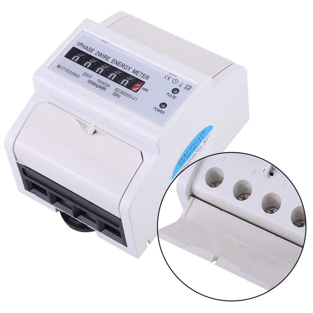 Compteur d/énergie monophas/é /électrique 220V 50 Hz 40 Compteur KWh rail DIN 35 mm 10 Compteur d/énergie A Blanc