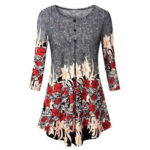XOWRTE Tunic TPS for Women 3/4 Sleeve T-Shirt Autumn Winter Pullover Sweaters Floral Print Casual Loose Black ()