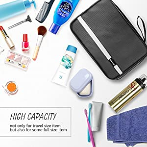 MAXCHANGE Mens Toiletry Bag, Foldable Toiletry Bag with Medium Capacity and 4 Layers Portable Waterproof Flat, Bathroom/Travel Hanging Makeup Bag for Men Women(black)