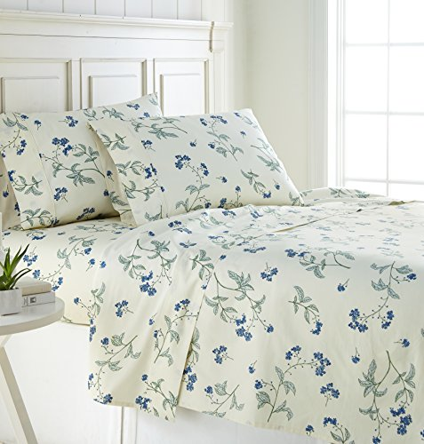 Southshore Fine Linens - BRITEYARN - Myosotis Scorpiodes Print - 300 Thread Count 100% Cotton, 4-Piece Extra Deep Pocket Sheet Set, California King, Off (Ivory Contemporary Print)