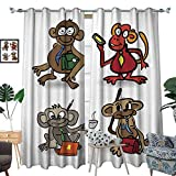 longbuyer Room Grommet Indoor Curtains Set of Sketches Monkey Business with a Phone
