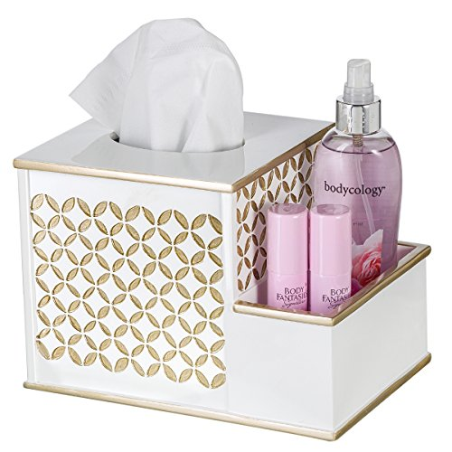Diamond Lattice Tissue Box with Compartments Vanity Organizer, 2-in-1 Decorative Tissues Cover Square Resin Napkins Container for Bathroom, Countertop, Gift Boxed (White & Gold) - Vanity Tissue