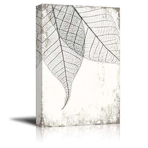 wall26 Canvas Wall Art - Black and White Leaf Vein on Rustic Background - Giclee Print Gallery Wrap Modern Home Decor Ready to Hang - 24x36 inches