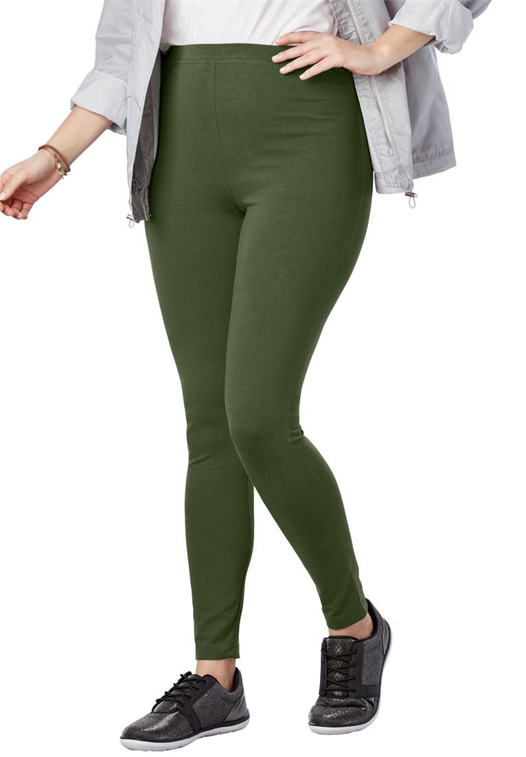 Woman Within Women's Plus Size Stretch Cotton Legging