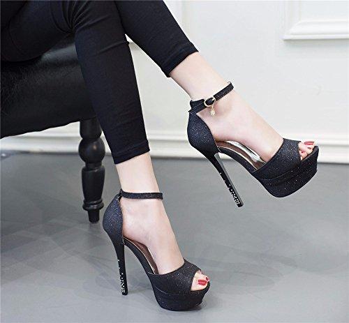 YMFIE Sandalias de tacón Alto de Verano Europeo de Punta Abierta Temperamento de la Moda Sexy con Zapatos de Boca de Pescado Tacones Altos de Las señoras black