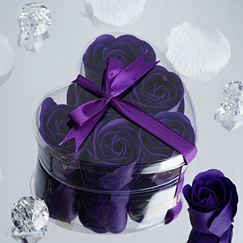 BalsaCircle 100 Gift Boxes with 6 Rose Soaps - Wedding Favors - Purple by BalsaCircle
