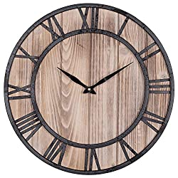 SkyNature Vintage Wall Clock, Metal & Wood Clock with Large Roman Numerals, Indoor Silent Non-Ticking Battery Operated Clock Decorative for Home, Living Room, Kitchen - 18 Inch, Black
