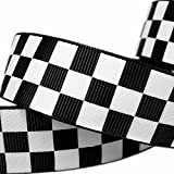 "25yd 1"" Black Solid Grosgrain Ribbon White Race Checkerboard Pattern Printed for Hairbow"