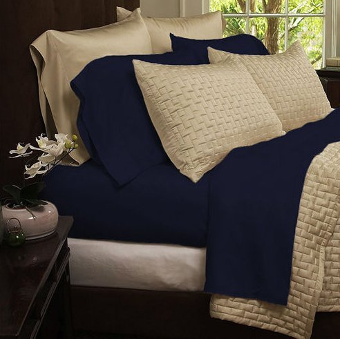 Bedding sets-4-Piece Bed Sheets Set-Hotel Comfort 1800 Series Eco-Friendly Organic Bamboo Bed Sheets-Size Queen-Color Navy-bamboo fiber sheets are comfortable and ultra-soft & silky which ensures your body and mind get a peaceful sleep all night long-GUARANTEED!