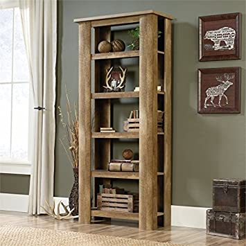 Sauder Boone Mountain 5 Shelf Bookcase in Craftsman Oak