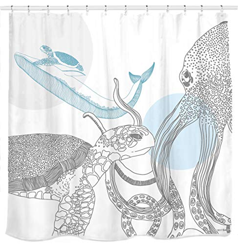 Marina Shower Curtain - Sunlit Designer Ocean Animals White Fabric Shower Curtain with Sea Turtle Whale Octopus Tentacles Marine Life Scenery Abstract Sketch Art - Blue Gray Black