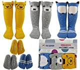 Baby Girl Knee High Socks 8-24 Months Best Toddler Gift for 1-3 Year Old Girls Long Cotton Sock from Tiny Captain (Yellow, Blue, Grey, Small) Review