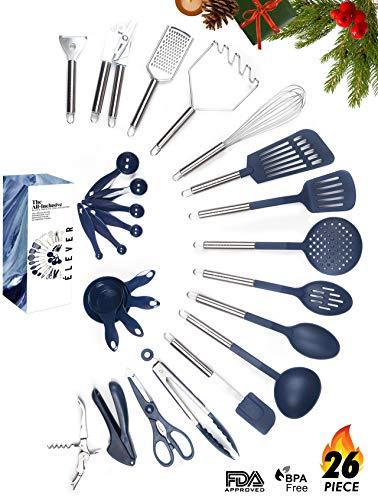Kitchen Utensil Set - 26 Nonstick Stainless Steel Kitchen Gadgets & Tool Set. BPA Free Cooking Utensils Cookware Set. Spatula, Potato Masher, Tongs. Best Kitchen Utensils Gifts for him her - ÉLEVER