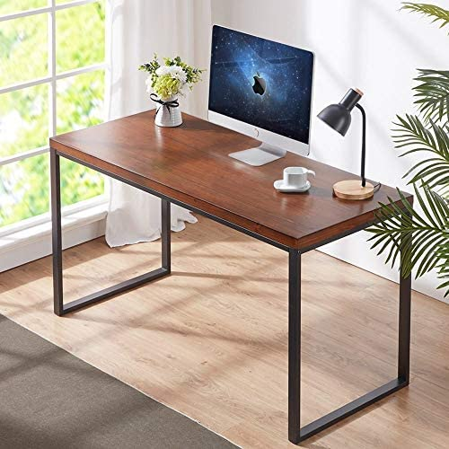 HSH Solid Wood Computer Desk, Industrial Home Office Writing Table, Rustic Vintage Metal Soho Study Table, Brown 55 inch