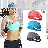 3PACK Lightweight Sport Headband/KEREITH No-slip SweatBand Headwear for Women Men Girls Boys