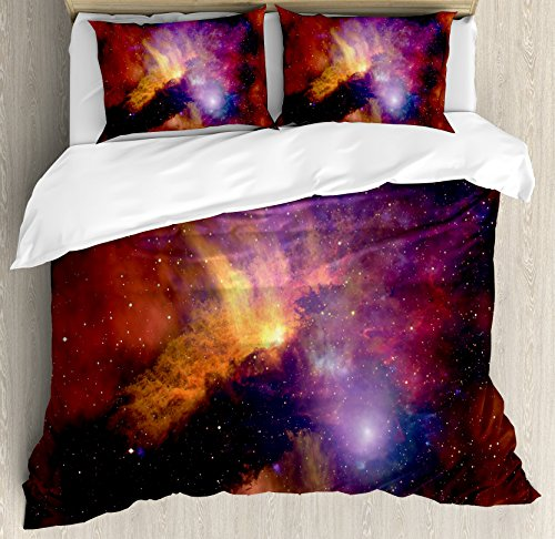 Ambesonne Outer Space Duvet Cover Set, Space Stars and Nebula Gas and Dust Cloud Celestial Solar Galaxy System, Decorative 3 Piece Bedding Set with 2 Pillow Shams, King Size, Purple Red Orange