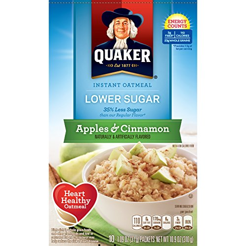 Quaker Instant Oatmeal, Lower Sugar, Apples & Cinnamon, Breakfast Cereal, 10 Packets Per - Pantry Tart