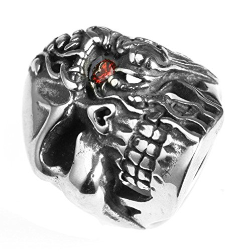 Jewelry Retro Vintage Estate (MoAndy Fashion Ring Men Stainless Steel Vintage Retro Silver Mit Red Eyes Skull Ring 2CM Size 10)
