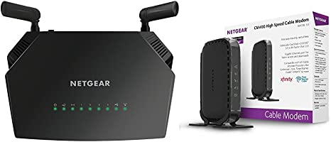 Black NETGEAR Dual-Band AC1200 Router with 8 x 4 DOCSIS 3.0 Cable Modem