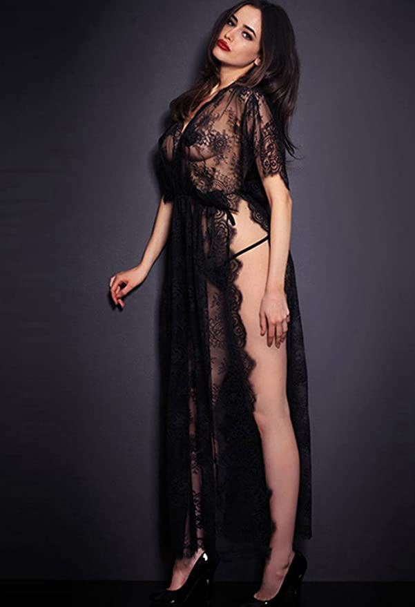 d956b5ae1937 LvRao Donna Sexy Pizzo Mesh Trasparente Intimo Lingerie Lungo Vestito V  Collo Manica Corta Pigiama Camicie da Notte Kimono - Nero