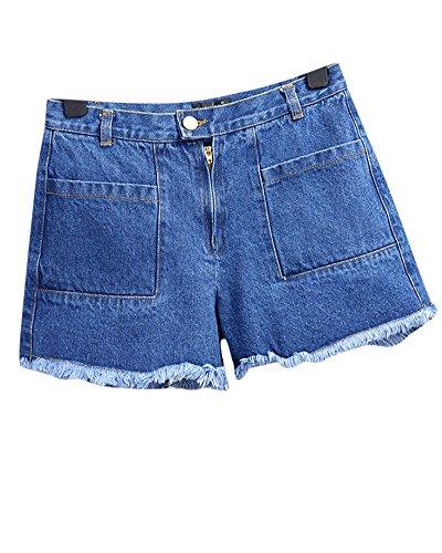 Alta Jeans Pantaloncini Blu Pantaloni Donna A Di Vita Strappati Corti EwxYOYPqI