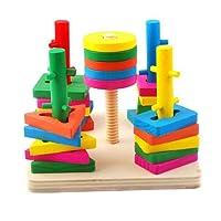 FONGFONG 48 Pezzi Geometric Stacker in Legno Forme Colore Corrispondenza Giocattoli Educativi Giocattoli Di Accatastamento Legno per Bambini di 3 Anni e Oltre
