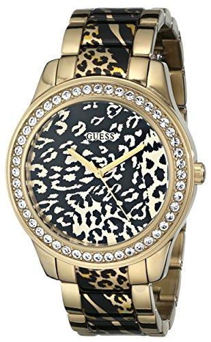 GUESS Women's U0465L1 Gold-Tone Animal Print Watch (Animal Print Watches Women Guess)