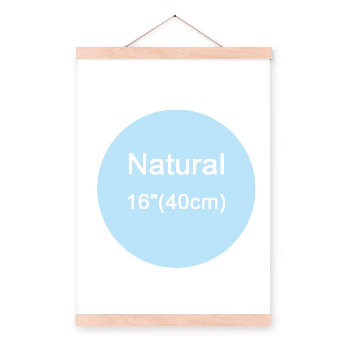lieomo 16'' Natural Wood Magnetic Frame Poster Print Artwork Canvas Hanging Quilt Clip Hanger-Natural Color
