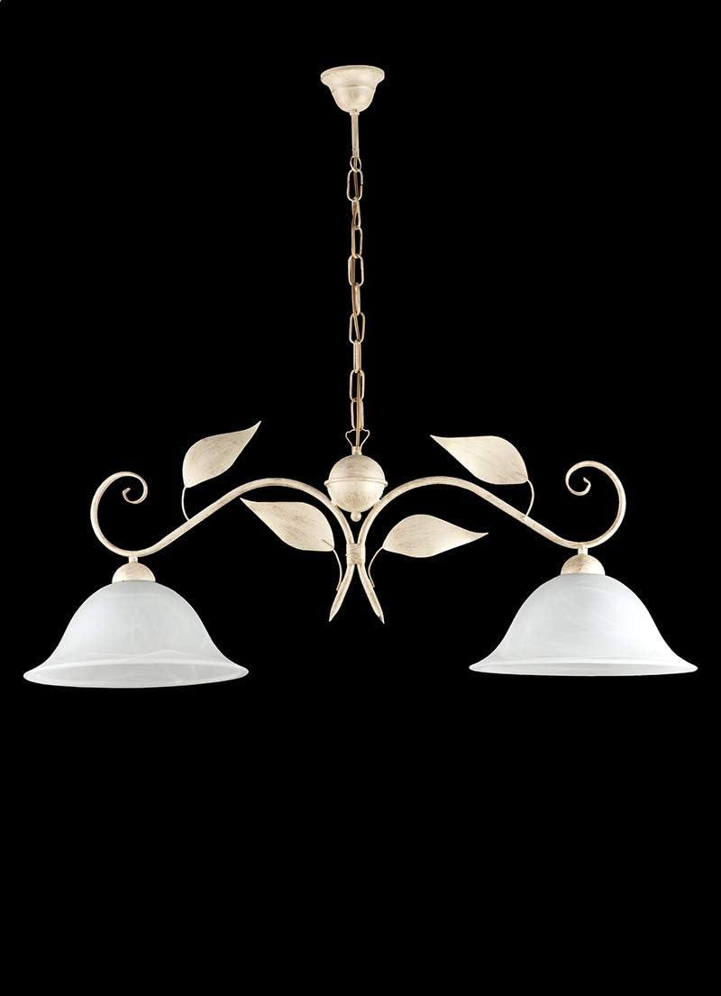 Lampadario da cucina bilanciere in ferro battuto e vetro classico marrone oro