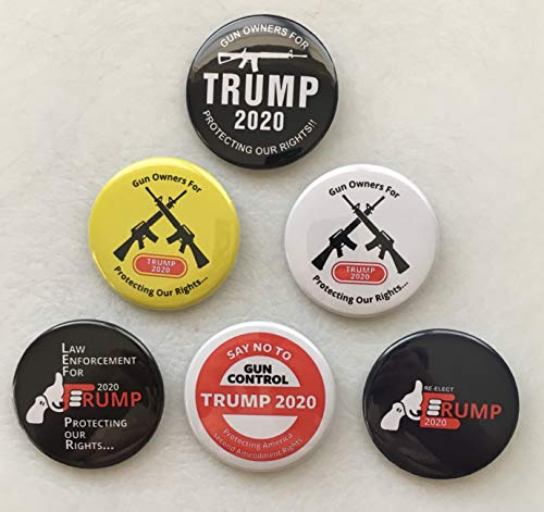 (Presidential Election Historical Center Gun Owners for Trump Trump 2020 - Set of 6, 2.25 inch Buttons )