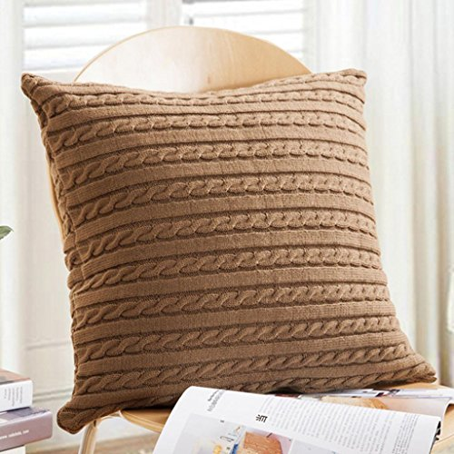 Pocciol Solid Home Decor Accent Pillow Case Striped Corduroy Plush Velvet Cushion Cover for Sofa (KH) Corduroy Accents