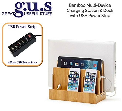 Double Face Mobile Bookcase (G.U.S. Multi-Device Charging Station Dock & Organizer - Multiple Finishes Available. For Laptops, Tablets, and Phones - Strong Build, Eco-Friendly Bamboo with 4-Port USB Power Strip)