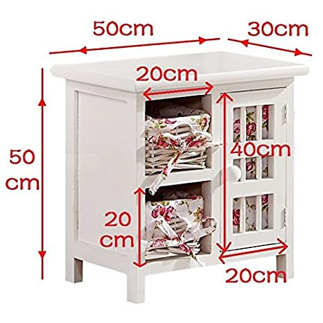 Cassettiera In Vimini Per Bagno.Bianco Shabby Chic In Vimini Mobili Cassettiera Mobiletto