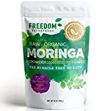 Moringa Powder – Pure Raw Organic Oleifera Leaf from India – The Miracle Protein Packed Veda Vitamin Vegetable – Harvested from Farm Fresh Leaves – 1lb / 16 oz For Sale