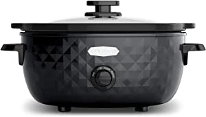Elite Platinum Maxi-Matic 6 Quart Diamond Pattern Slow Cooker Removable, Dishwasher-Safe Stoneware Pot with Tempered Glass Lid, Cool-Touch Handles, Black