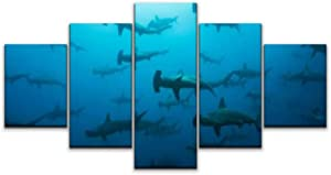 5 panels Wall Art Print On Canvas scalloped hammerhead shark school at wolf, galapagos island shoal of Modern Abstract Picture Poster for Home Decor Stretched and Framed Ready to Hang (60''Wx32''H)