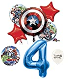 4th Birthday Blue Number Avengers Captain America Shield Balloons Bouquet Bundle
