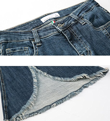 Couleur vas Split Fit Bleu Flared Taille Large Jeans Denim Slim Haute Pantalon Unie ZhiYuanAN Femme Jean Pantalon Stretch Casual 5qwgF0nqt