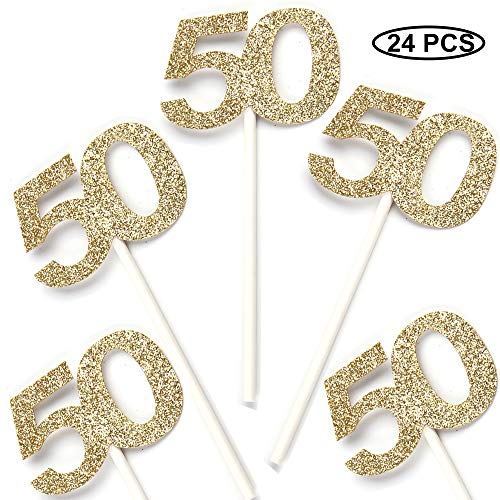 24 PCS 50th Cupcake Toppers - Anniversary or Birthday Cupcake Picks Party Decoration | Gold ()